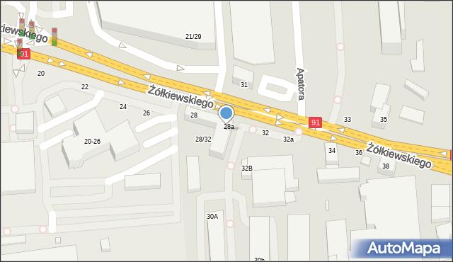 Toruń, Żółkiewskiego, 30, mapa Torunia