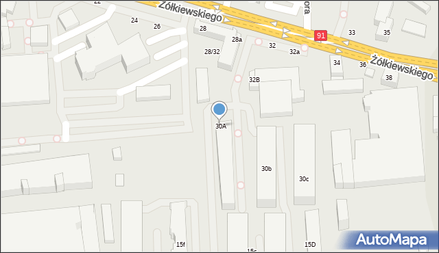 Toruń, Żółkiewskiego, 30A, mapa Torunia