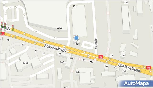 Toruń, Żółkiewskiego, 31, mapa Torunia
