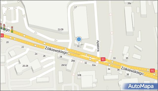 Toruń, Żółkiewskiego, 31a, mapa Torunia