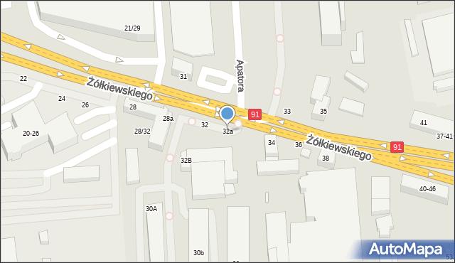 Toruń, Żółkiewskiego, 32a, mapa Torunia