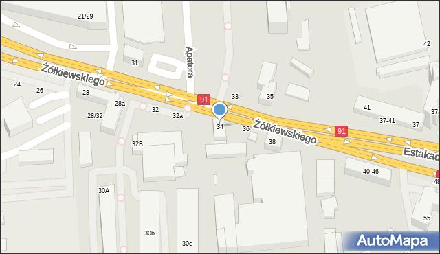 Toruń, Żółkiewskiego, 34, mapa Torunia