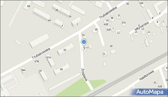 Chełm, Źródlana, 5, mapa Chełma