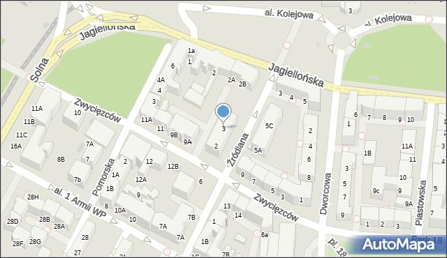 Kołobrzeg, Źródlana, 3, mapa Kołobrzegu