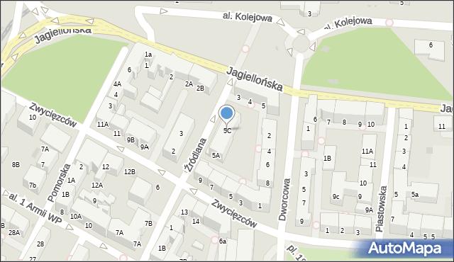 Kołobrzeg, Źródlana, 5C, mapa Kołobrzegu