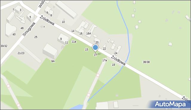Łódź, Źródłowa, 17, mapa Łodzi