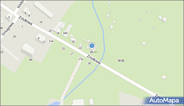 Łódź, Źródłowa, 26, mapa Łodzi
