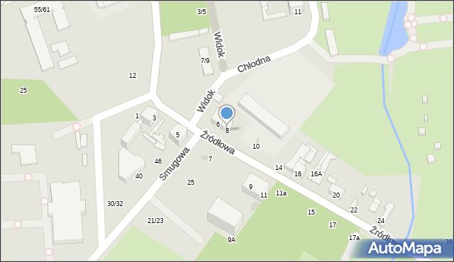 Łódź, Źródłowa, 8, mapa Łodzi