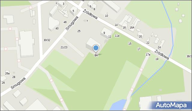 Łódź, Źródłowa, 9A, mapa Łodzi