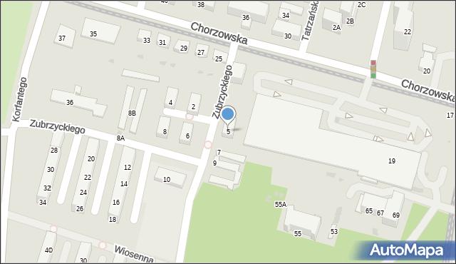 Świętochłowice, Zubrzyckiego Juliana, 5, mapa Świętochłowice