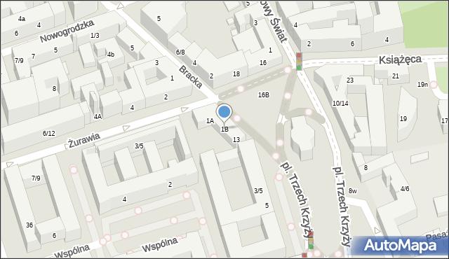 Warszawa, Żurawia, 1B, mapa Warszawy