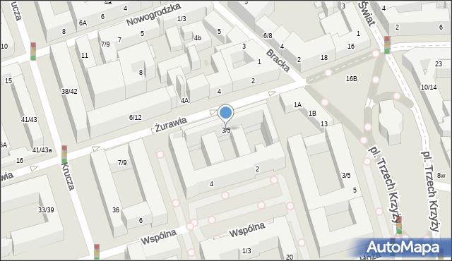 Warszawa, Żurawia, 3/5, mapa Warszawy