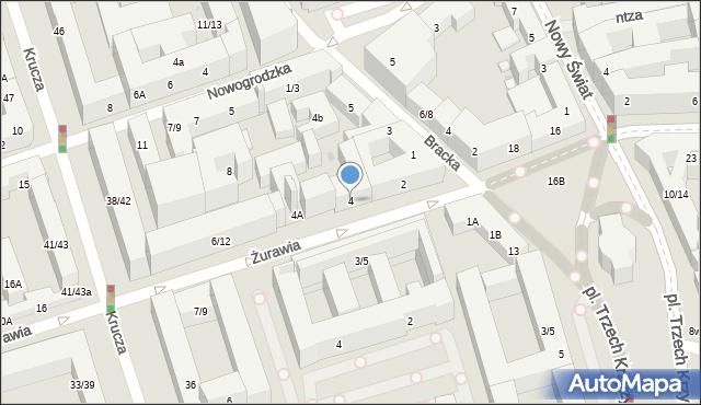 Warszawa, Żurawia, 4, mapa Warszawy