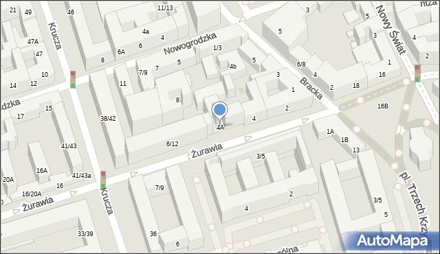 Warszawa, Żurawia, 4A, mapa Warszawy