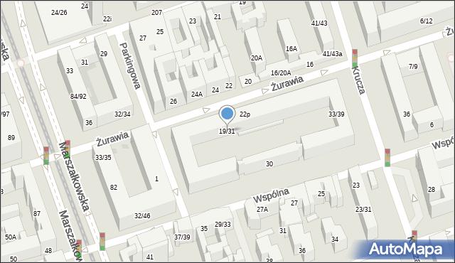 Warszawa, Żurawia, 19/31, mapa Warszawy
