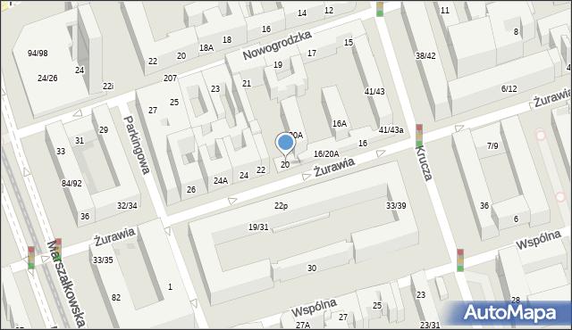 Warszawa, Żurawia, 20, mapa Warszawy