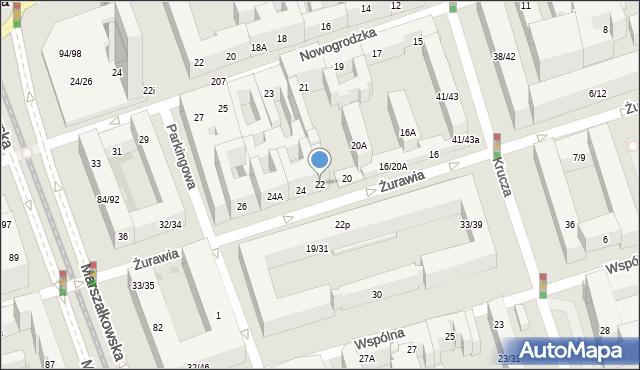 Warszawa, Żurawia, 22, mapa Warszawy