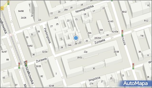 Warszawa, Żurawia, 24, mapa Warszawy
