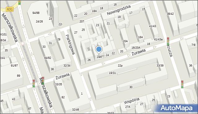 Warszawa, Żurawia, 24A, mapa Warszawy