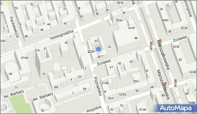 Warszawa, Żurawia, 44, mapa Warszawy