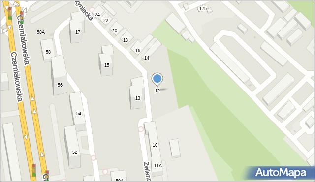 Warszawa, Zwierzyniecka, 12, mapa Warszawy