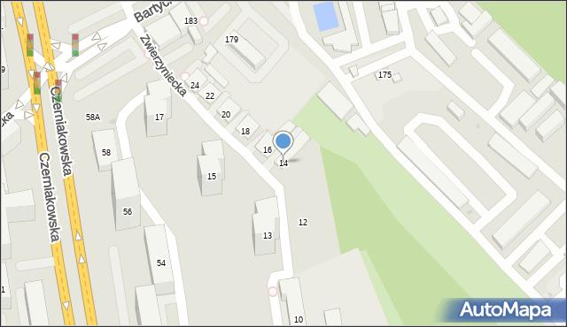 Warszawa, Zwierzyniecka, 14, mapa Warszawy