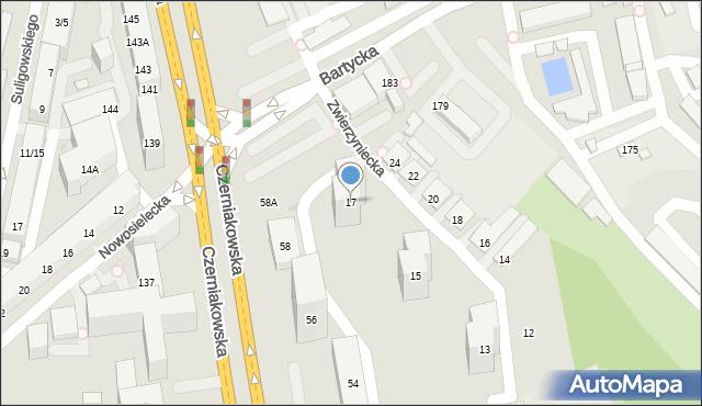 Warszawa, Zwierzyniecka, 17, mapa Warszawy