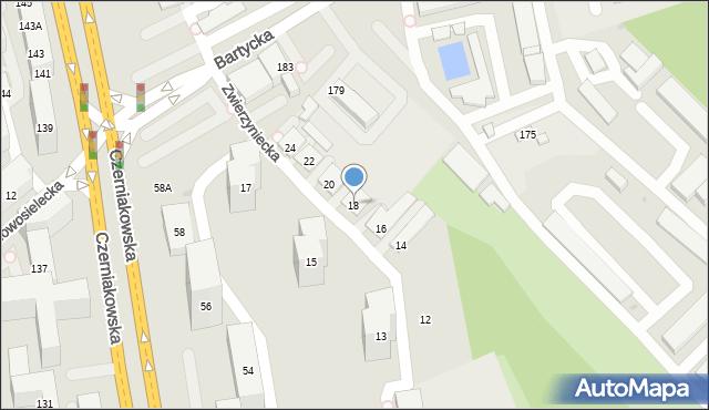 Warszawa, Zwierzyniecka, 18, mapa Warszawy