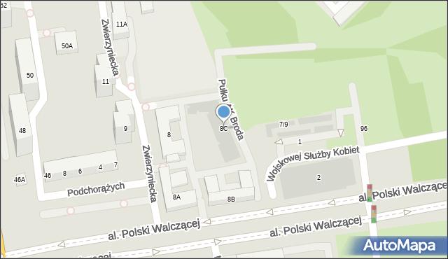 Warszawa, Zwierzyniecka, 8C, mapa Warszawy