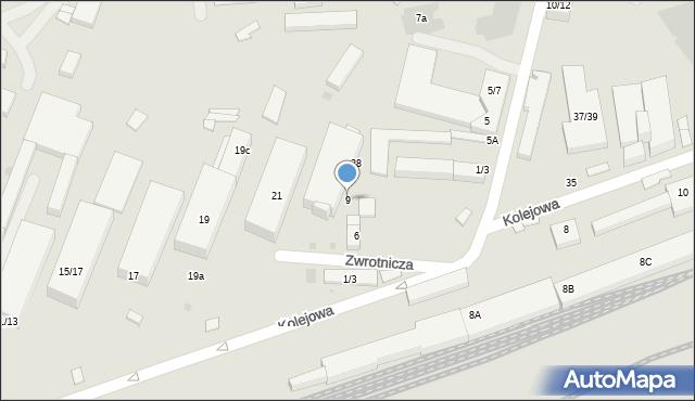 Warszawa, Zwrotnicza, 9, mapa Warszawy