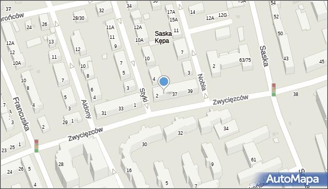 Warszawa, Zwycięzców, 35, mapa Warszawy