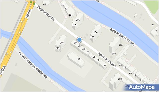 Kołobrzeg, Zygmuntowska, 31, mapa Kołobrzegu
