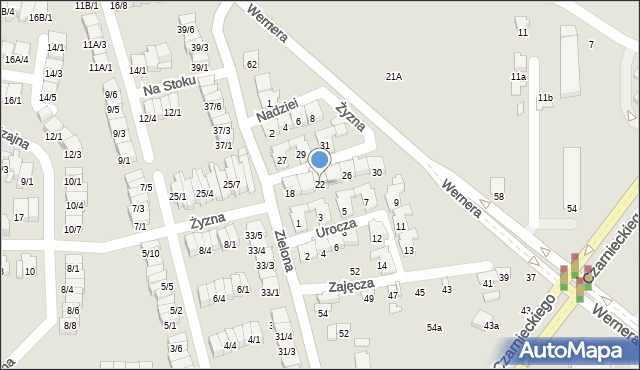 Radom, Żyzna, 22, mapa Radomia