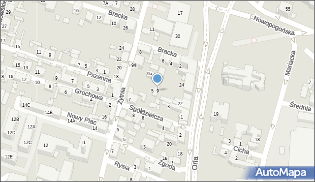 Sosnowiec, Żytnia, 9, mapa Sosnowca
