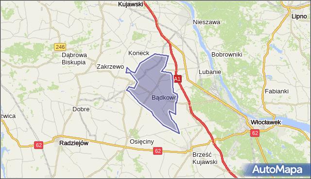 gmina Bądkowo - powiat aleksandrowski na mapie Targeo