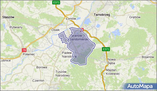 gmina Baranów Sandomierski - powiat tarnobrzeski na mapie Targeo