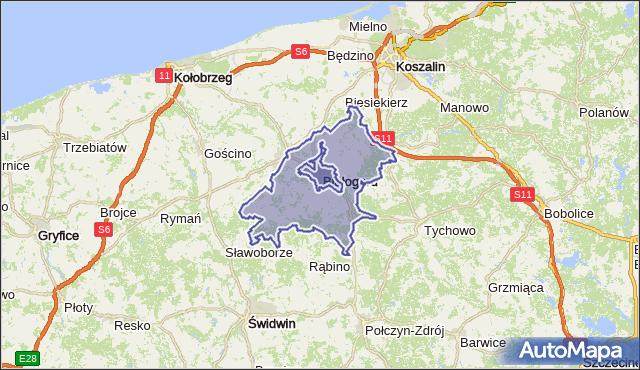 gmina Białogard - powiat białogardzki na mapie Targeo