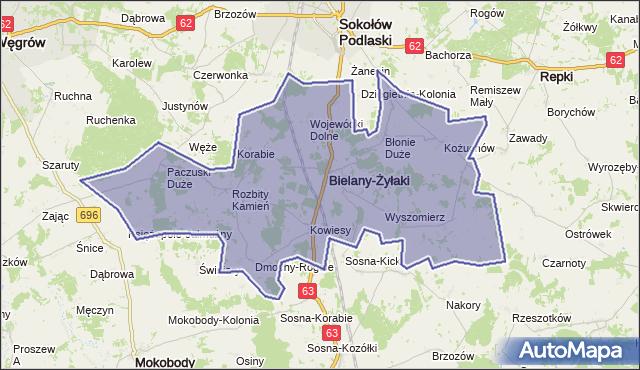 gmina Bielany - powiat sokołowski na mapie Targeo