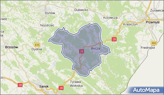 gmina Bircza - powiat przemyski na mapie Targeo