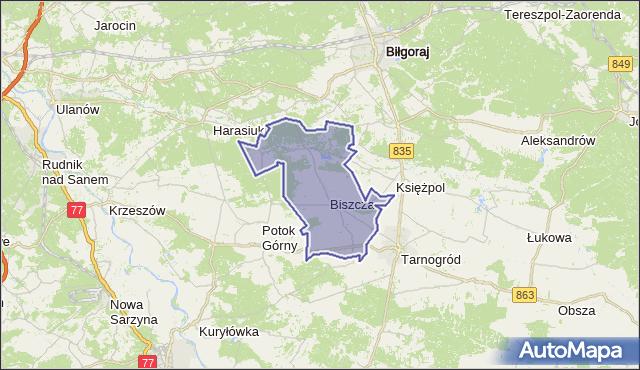 gmina Biszcza - powiat biłgorajski na mapie Targeo