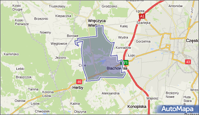 gmina Blachownia - powiat częstochowski na mapie Targeo