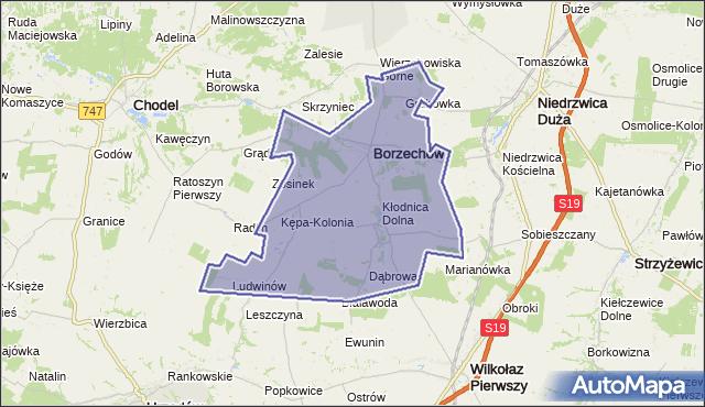 gmina Borzechów - powiat lubelski na mapie Targeo