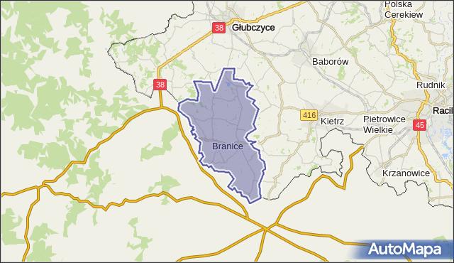 gmina Branice - powiat głubczycki na mapie Targeo