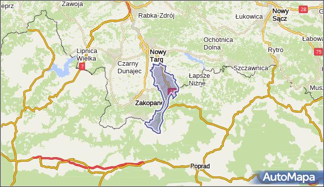 gmina Bukowina Tatrzańska - powiat tatrzański na mapie Targeo