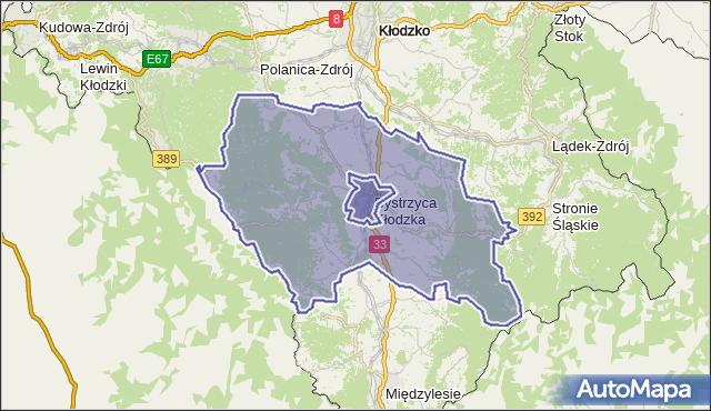 gmina Bystrzyca Kłodzka - powiat kłodzki na mapie Targeo