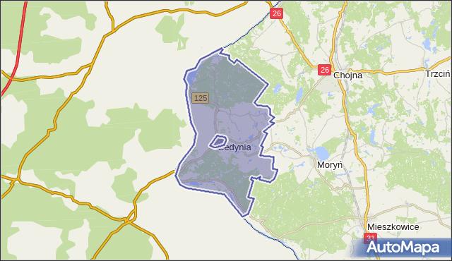 gmina Cedynia - powiat gryfiński na mapie Targeo