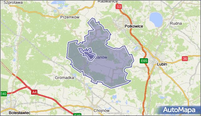 gmina Chocianów - powiat polkowicki na mapie Targeo