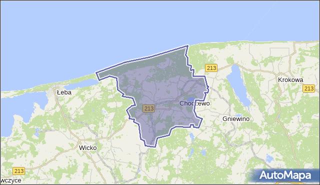 gmina Choczewo - powiat wejherowski na mapie Targeo