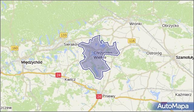gmina Chrzypsko Wielkie - powiat międzychodzki na mapie Targeo