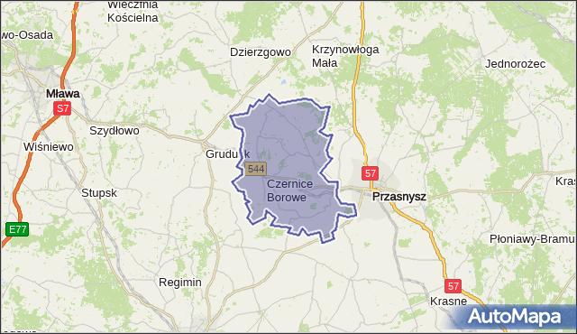 gmina Czernice Borowe - powiat przasnyski na mapie Targeo